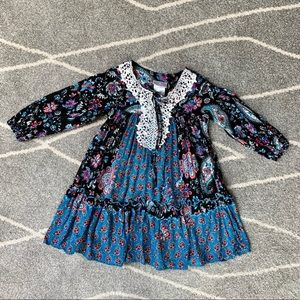 Iris & Ivy Black and Teal Boho Peasant Dress sz 4